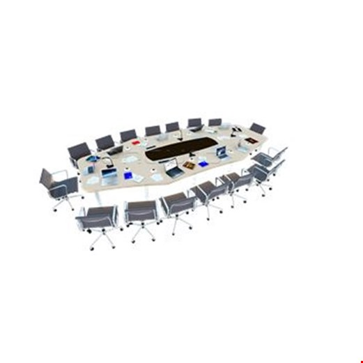 Jual Meja Staff Kantor Desking Octagon Shaped Meeting Table with High Technology Support